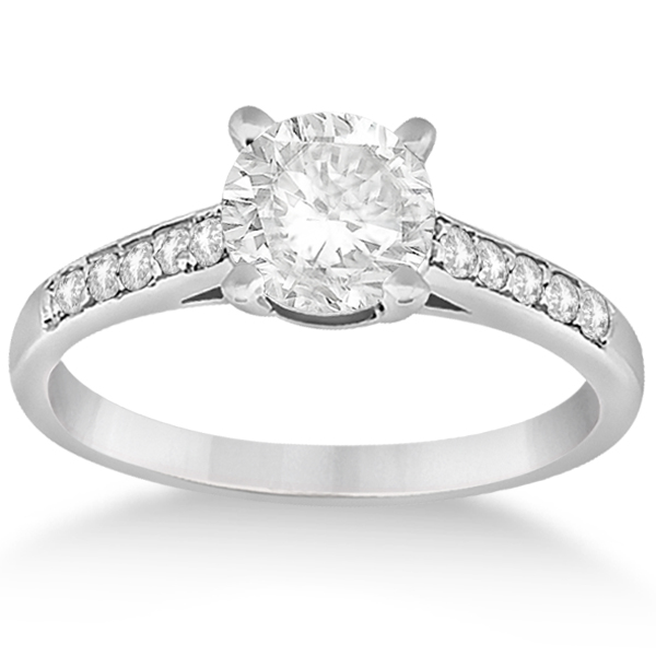 Cathedral Pave Lab Grown Diamond Engagement Ring Setting 14k White Gold (0.20ct)