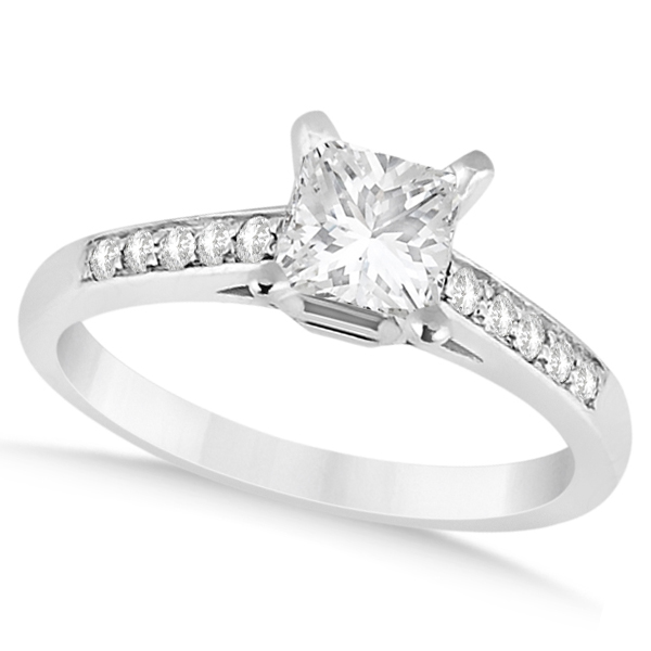 Cathedral Princess Cut Diamond Engagement Ring 14k White Gold (0.75ct)