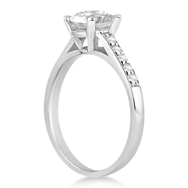 Cathedral Princess Cut Diamond Engagement Ring 14k White Gold (1.00ct)