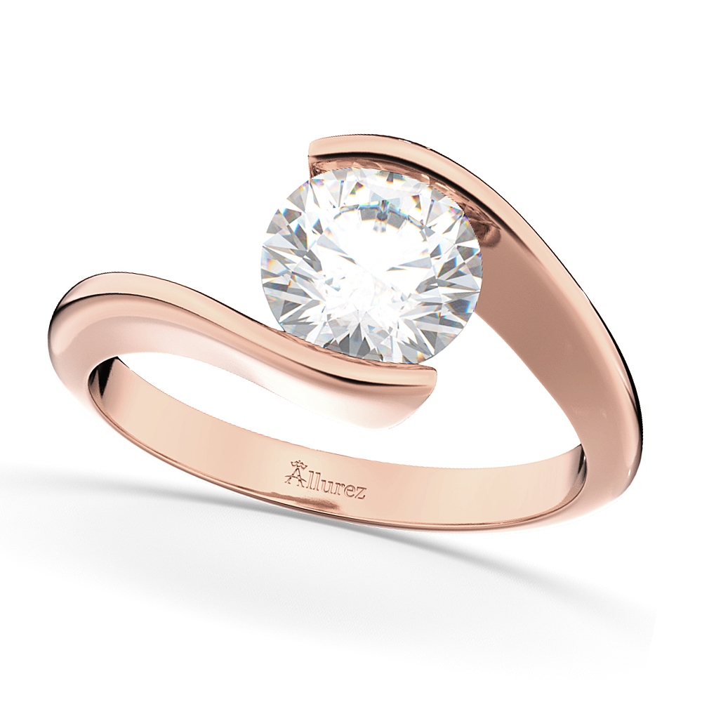 Tension Set Solitaire Diamond Engagement Ring 14k Rose Gold 0.50ct