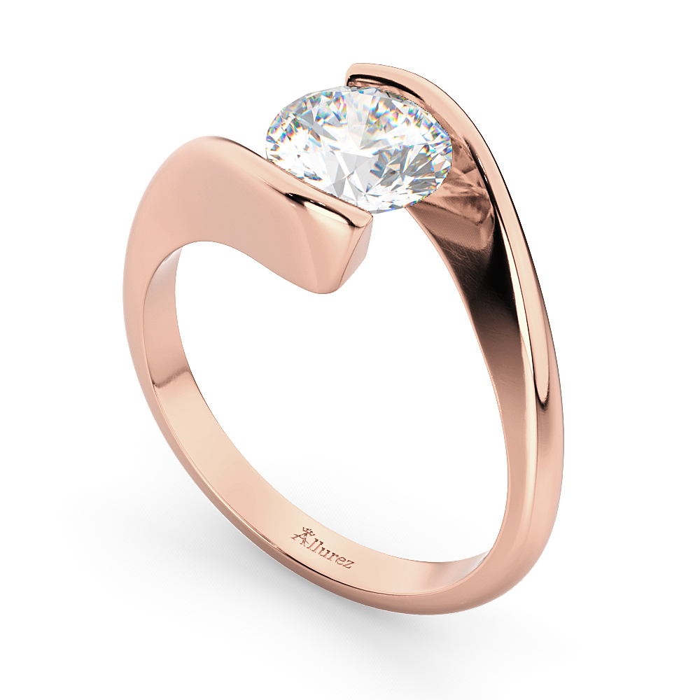 Tension Set Solitaire Diamond Engagement Ring 14k Rose Gold 1.50ct