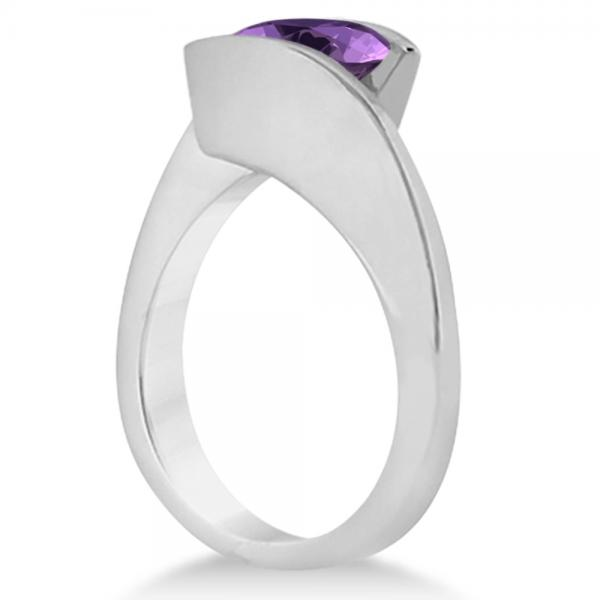 Tension Set Solitaire Amethyst Engagement Ring 14k White Gold 2.00ct