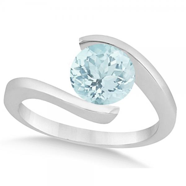 Tension Set Solitaire Aquamarine Engagement Ring 14k White Gold 1.00ct