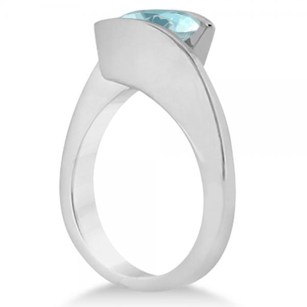 Tension Set Solitaire Aquamarine Engagement Ring 14k White Gold 1.00ct