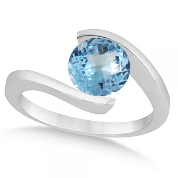 Tension Set Solitaire Blue Topaz Engagement Ring 14k White Gold 1.00ct