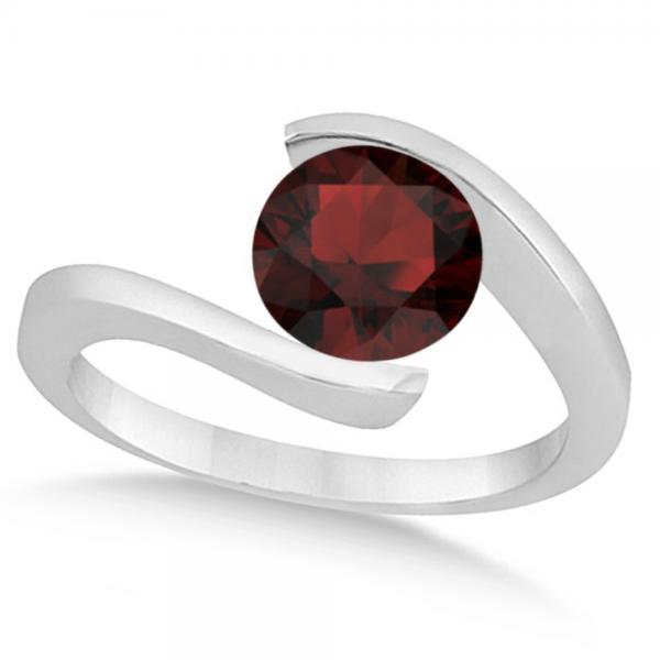 Tension Set Solitaire Garnet Engagement Ring 14k White Gold 1.00ct