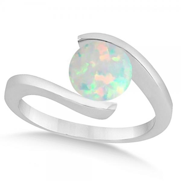 Tension Set Solitaire Opal Engagement Ring 14k White Gold 1 00ct