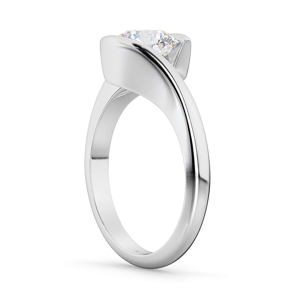 1 25ct Black Diamond Engagement Rings Set 14k White Gold: Tension Set Solitaire Diamond Engagement Ring 14k White