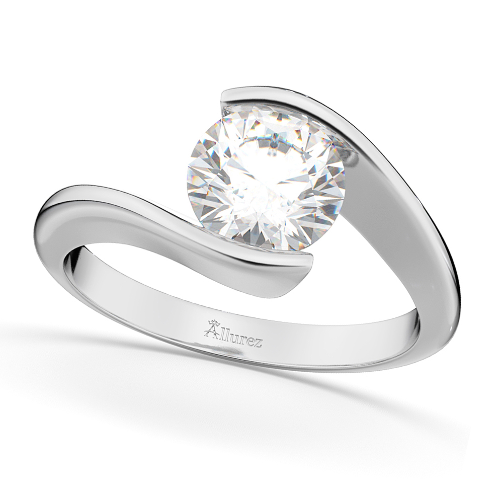 Tension Set Solitaire Moissanite Engagement Ring 14k White Gold 1.25ct