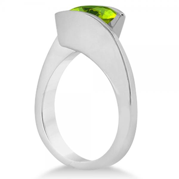 Tension Set Solitaire Peridot Engagement Ring 14k White Gold 1.00ct