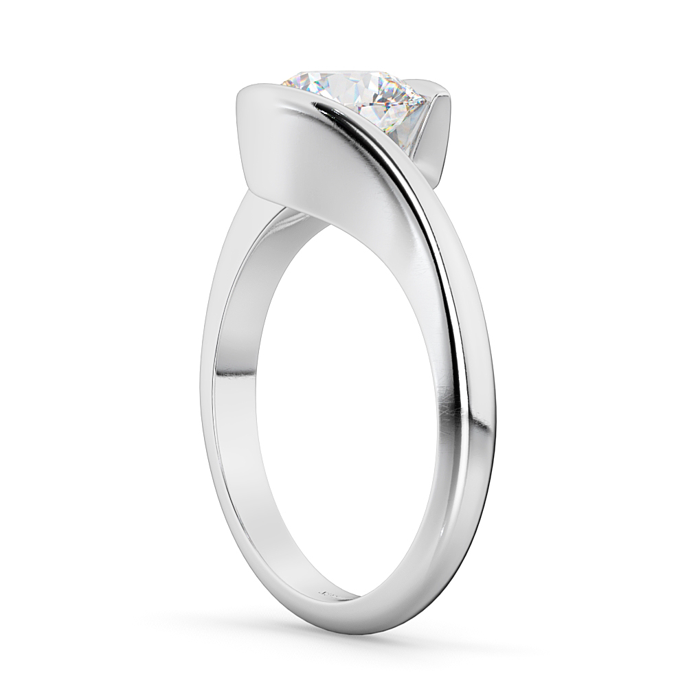 Tension Set Solitaire Diamond Engagement Ring 14k White Gold 2.00ct