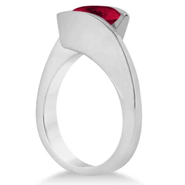 Tension Set Solitaire Ruby Engagement Ring 14k White Gold 1.00ct