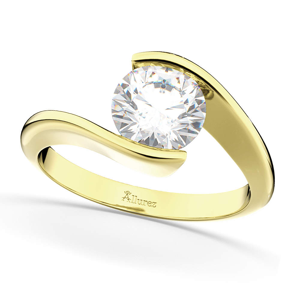 Tension Set Solitaire Moissanite Engagement Ring 14k Yellow Gold 1.00ct