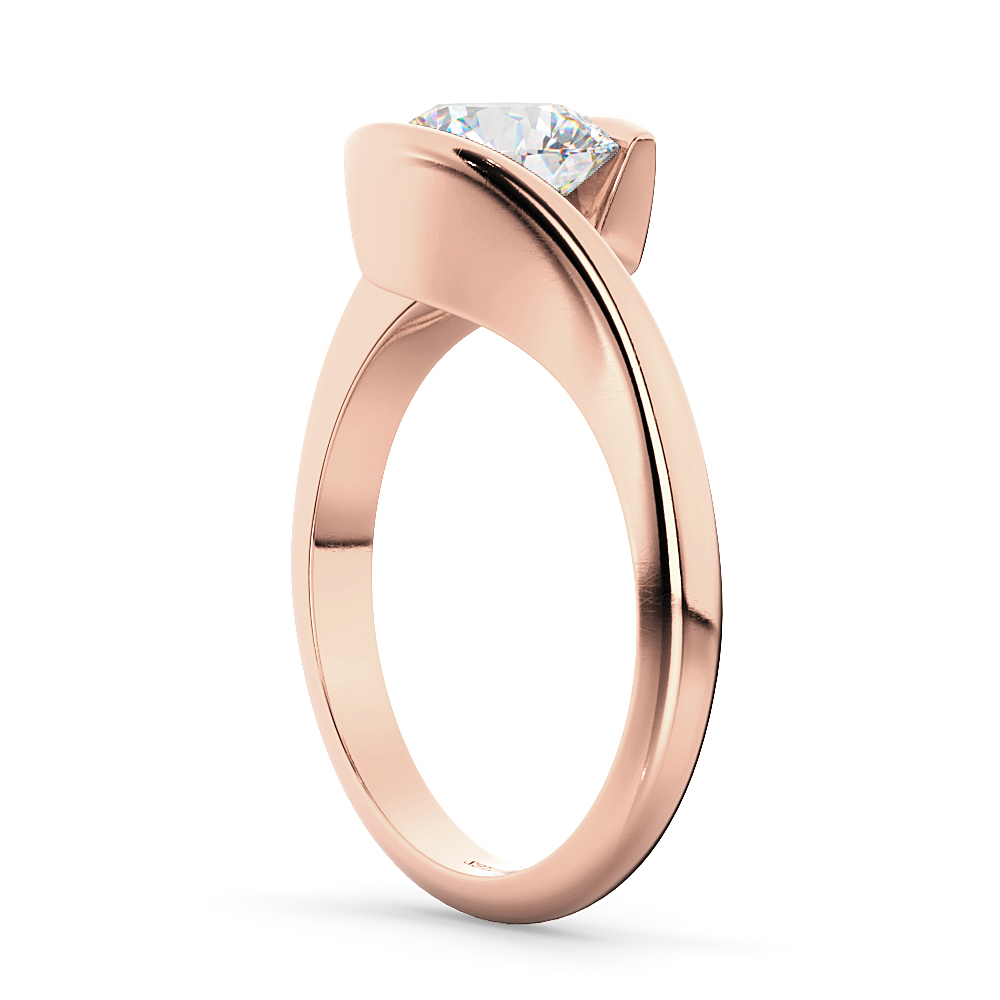 Tension Set Swirl Solitaire Engagement Ring Setting 18k Rose Gold