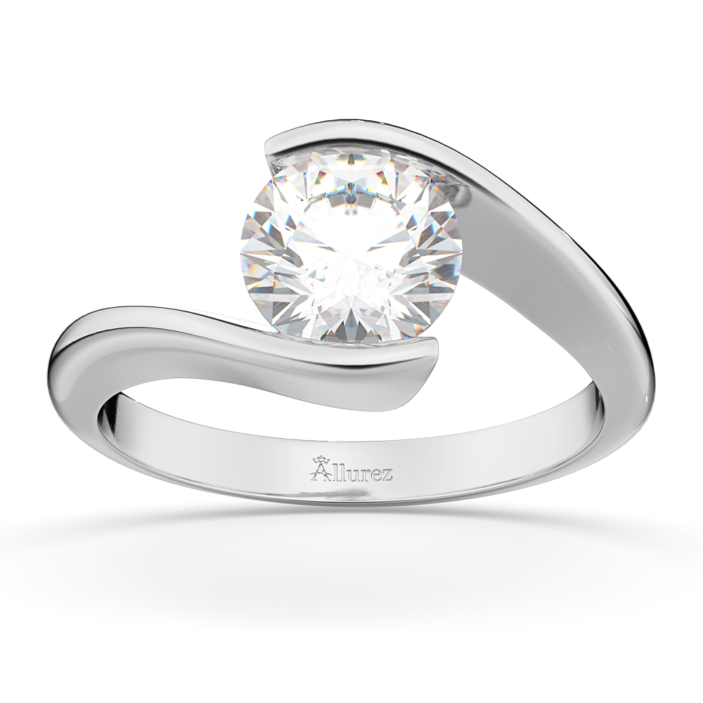 Tension set swirl solitaire engagement ring setting 18k for Wedding ring settings