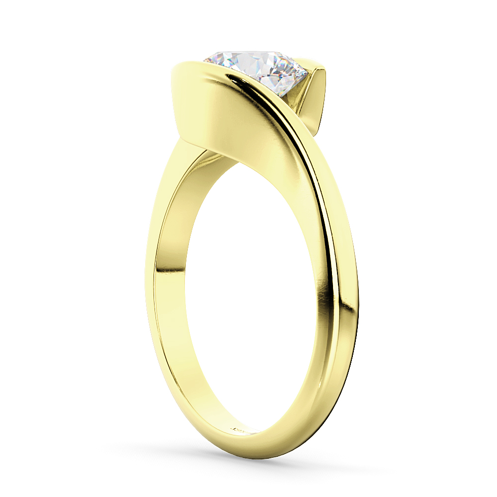 Tension Set Swirl Solitaire Engagement Ring Setting 18k Yellow Gold