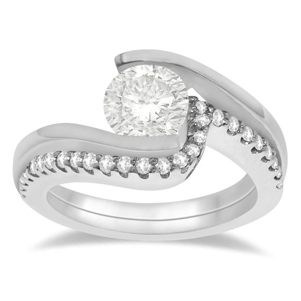 Tension Set Diamond Engagement Ring & Band Bridal Set 14K White Gold