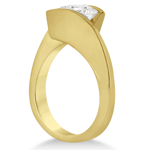 Tension Set Diamond Engagement Ring & Band Bridal Set 18K Yellow Gold
