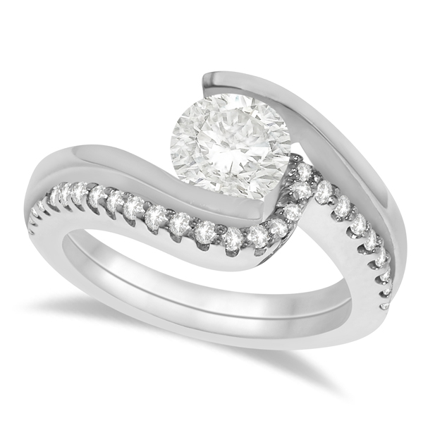 Tension Set Diamond Engagement Ring & Band Bridal Set in Platinum