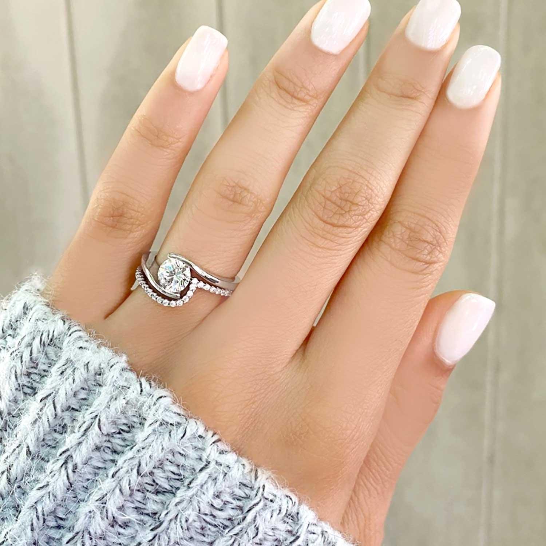 Tension Set Diamond Engagement Ring & Band Bridal Set in Platinum