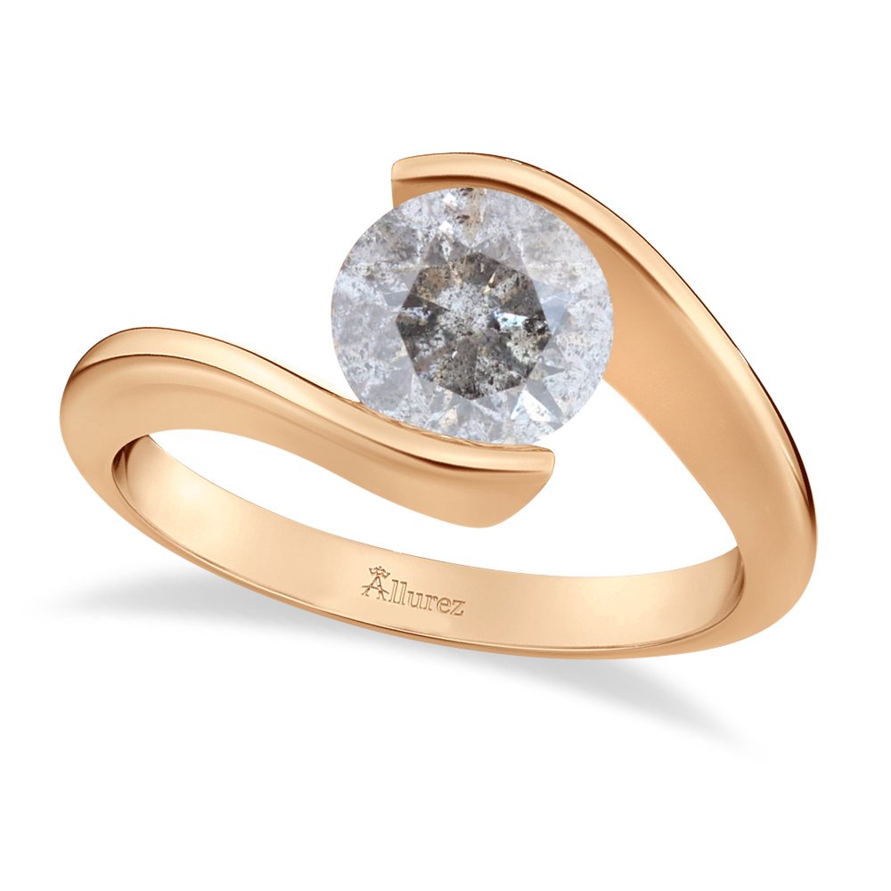 Tension Set Solitaire Salt & Pepper Diamond Engagement Ring 14k Rose Gold 0.75ct