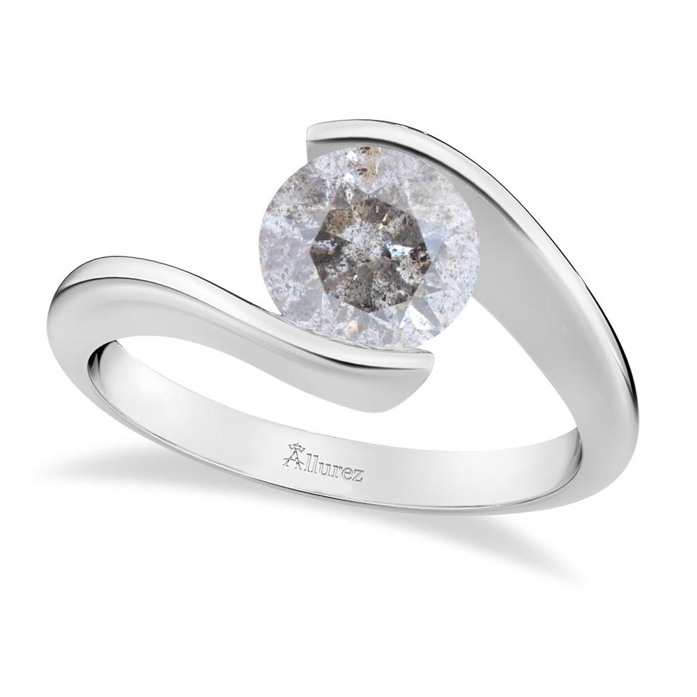 Tension Set Solitaire Salt & Pepper Diamond Engagement Ring 14k White Gold 0.75ct