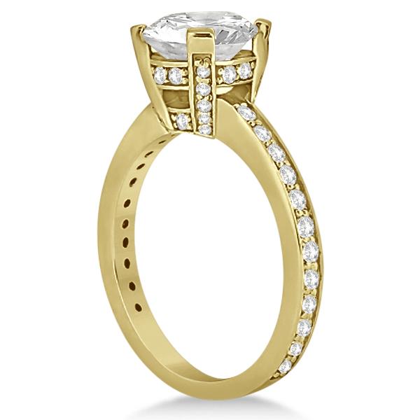 Eternity Diamond Side Stone Engagement Ring 14k Yellow Gold (0.45ct)