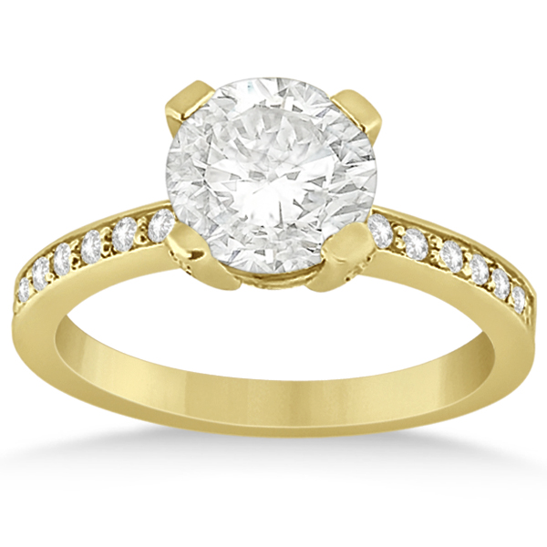 Eternity Diamond Side Stone Engagement Ring 18k Yellow Gold (0.45ct)