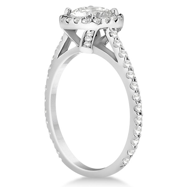 Halo Diamond Cathedral Engagement Ring Setting 14k White Gold (0.64ct)