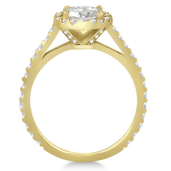 Halo Diamond Cathedral Engagement Ring Setting 14k Yellow Gold (0.64ct)