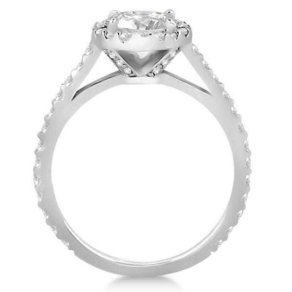 Halo Diamond Cathedral Engagement Ring Setting Palladium (0.64ct)