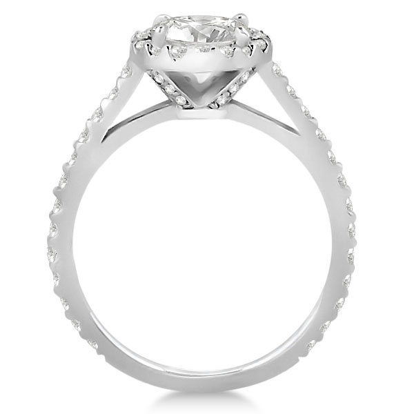 Halo Diamond Cathedral Engagement Ring Setting Platinum (0.64ct)