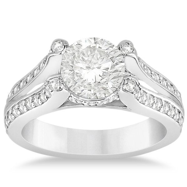 Wide Band Diamond Engagement Ring Split Shank 14k White Gold 0 50ct