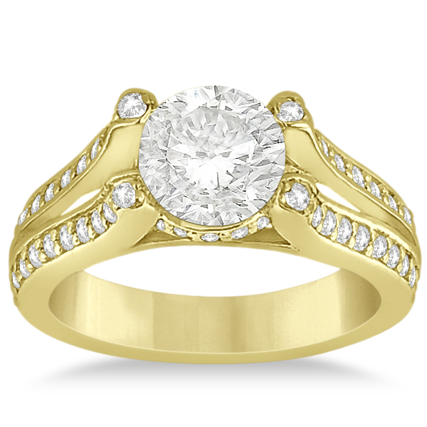 Wide Band Diamond Engagement Ring Split Shank 18K Yellow Gold 050ct