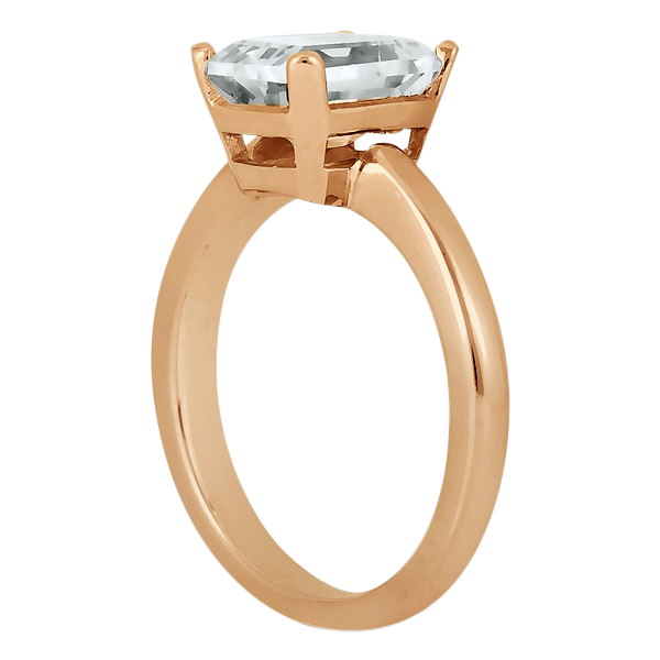 Solitaire Engagement Ring Setting for Emerald-Cut Diamond 14k Rose Gold