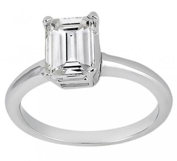 Solitaire Engagement Ring Setting for Emerald-Cut Diamond 14k White Gold