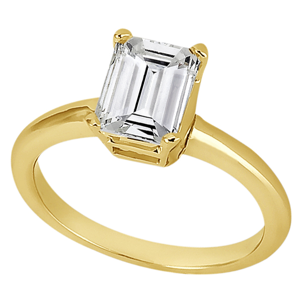 Solitaire Engagement Ring Setting for Emerald-Cut Diamond 14k Yellow Gold