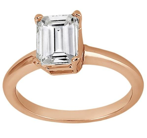 Solitaire Engagement Ring Setting for Emerald-Cut Diamond 18k Rose Gold