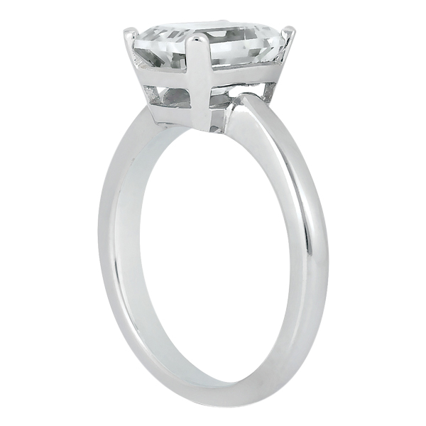 Solitaire Engagement Ring Setting for Emerald-Cut Diamond 18k White Gold