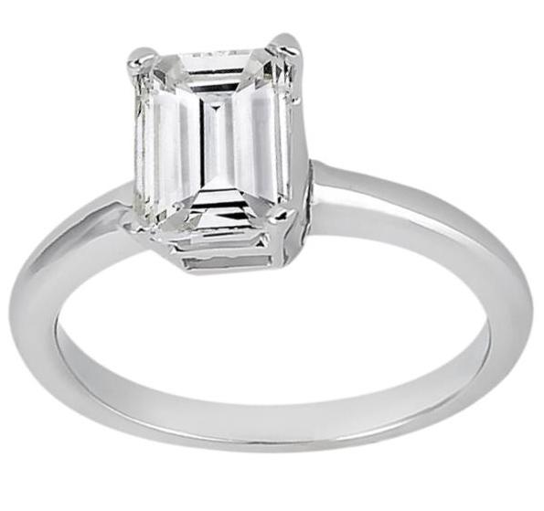 Solitaire Engagement Ring Setting for Emerald-Cut Diamond Palladium