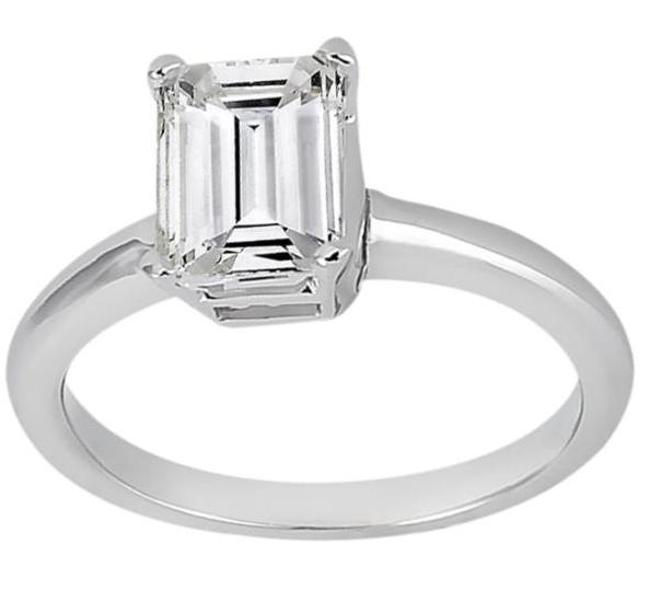 Solitaire Engagement Ring Setting for Emerald-Cut Diamond Platinum