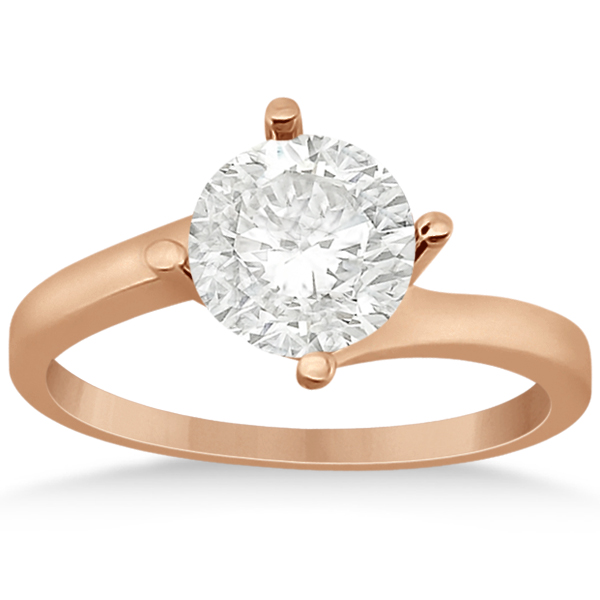Curved Four-Prong Bypass Solitaire Engagement Ring 14k Rose Gold