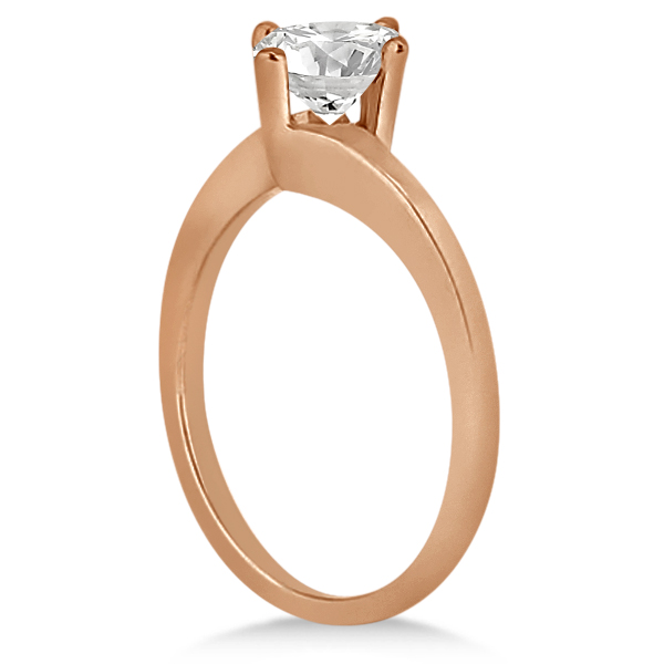 Curved Four-Prong Bypass Solitaire Engagement Ring 18k Rose Gold