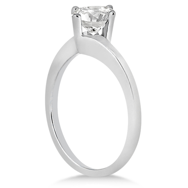 Curved Four-Prong Bypass Solitaire Engagement Ring Palladium