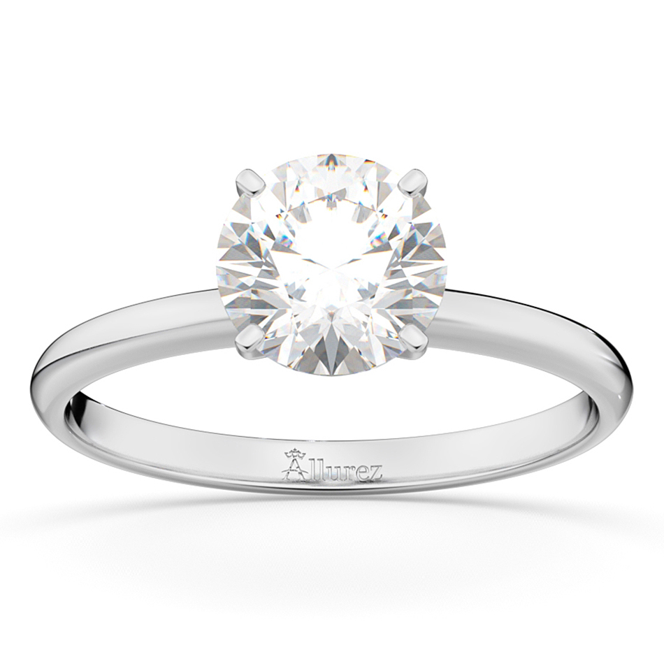 Four-Prong 14k White Gold Solitaire Engagement Ring Setting
