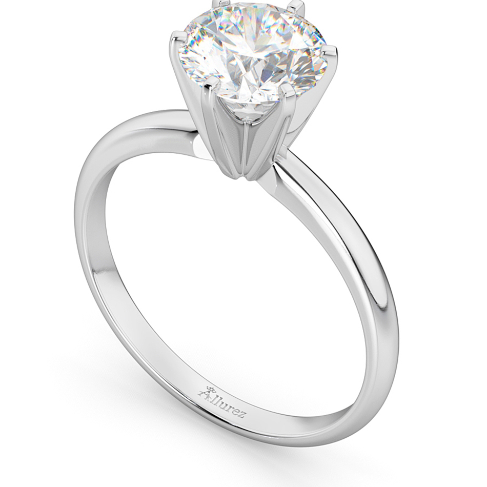 Six-Prong 14k White Gold Solitaire Engagement Ring Setting