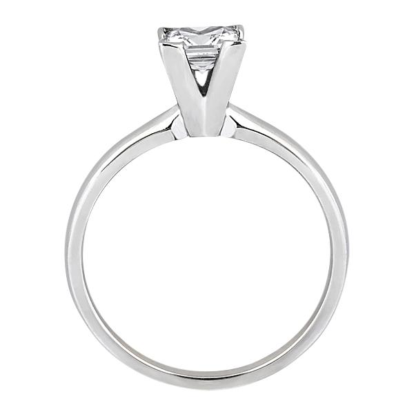 14k White Gold Solitaire Engagement Ring Princess Cut Diamond Setting