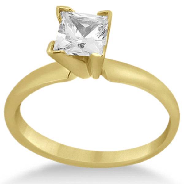 14k Yellow Gold Solitaire Engagement Ring Princess Cut Diamond Setting