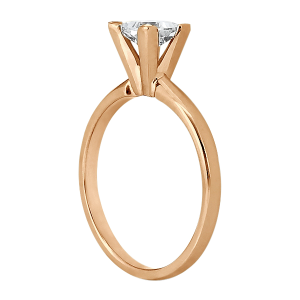 18k Rose Gold Solitaire Engagement Ring Princess Cut Diamond Setting