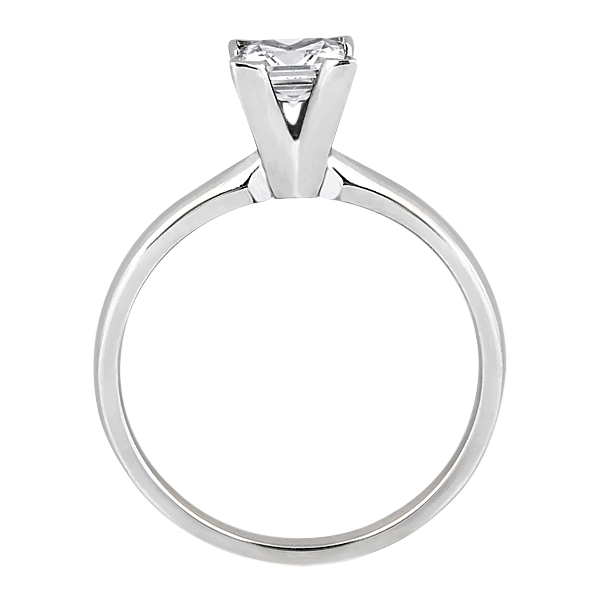 18k White Gold Solitaire Engagement Ring Princess Cut Diamond Setting